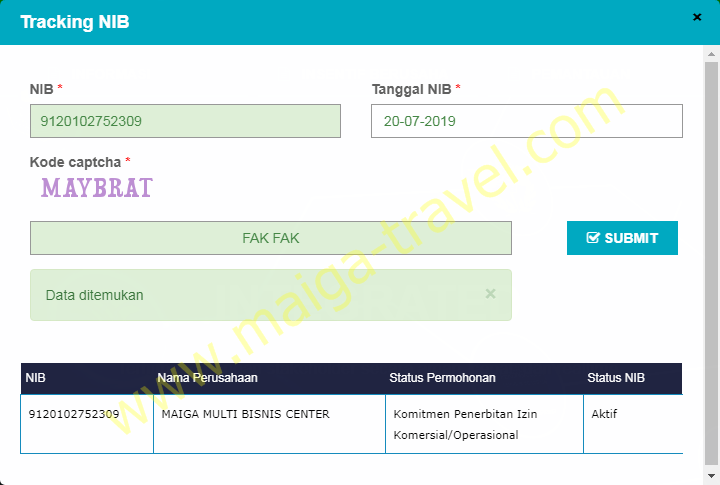 SURAT TRACKING NIB Maiga Travel