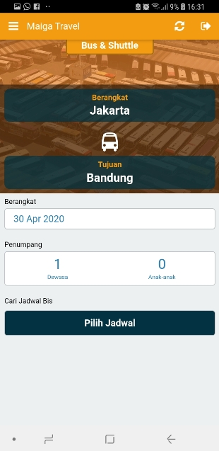 Aplikasi Bus Travel Maiga Travel